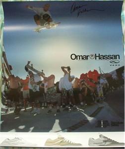 Omar Hassan autographed Vans skateboarding poster