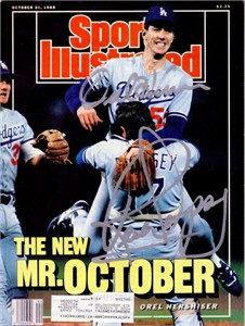 Orel Hershiser & Rick Dempsey autographed Dodgers 1988 World Series Sports Illustrated