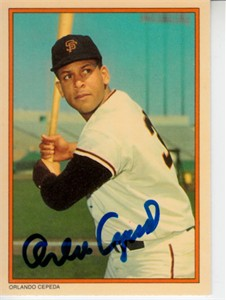 Orlando Cepeda autographed San Francisco Giants 1985 Topps Circle K card (MLB authenticated)