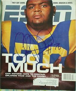 Orlando Pace autographed St. Louis Rams ESPN Magazine cover