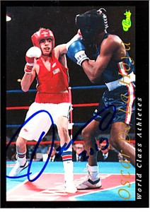 Oscar De La Hoya autographed 1992 Classic World Class Athletes boxing Rookie Card