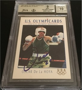 Oscar De La Hoya autographed 1992 Impel U.S. Olympic Hopefuls Rookie Card JSA graded BGS 9.5