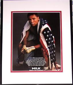 Oscar De La Hoya autographed MILK ad matted & framed