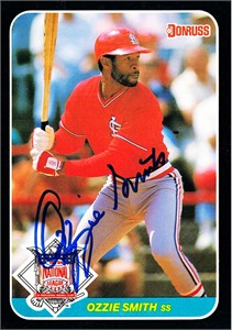 Ozzie Smith autographed St. Louis Cardinals 1987 Donruss All-Star jumbo card