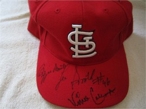 Ozzie Smith Vince Coleman Lee Smith autographed St. Louis Cardinals cap or hat