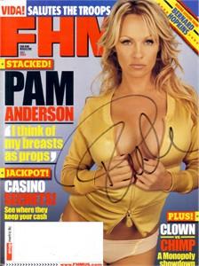 Pamela Anderson autographed July 2005 FHM magazine