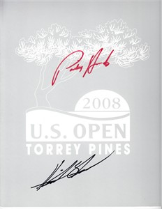 Padraig Harrington & Henrik Stenson autographed 2008 U.S. Open golf logo