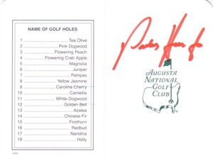 Padraig Harrington autographed Augusta National Masters scorecard