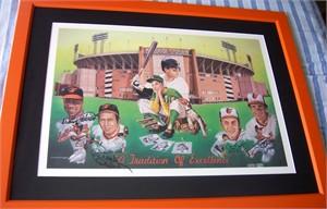 Jim Palmer Cal Ripken Brooks Robinson Frank Robinson autographed Baltimore Orioles 1991 lithograph framed