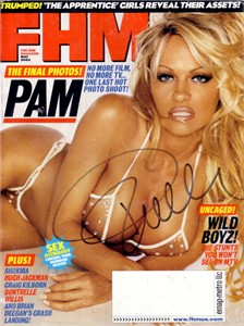 Pamela Anderson autographed May 2004 FHM magazine