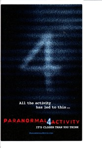 Paranormal Activity 4 movie promotional decal or sticker