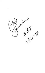Pat Fischer autographed index card inscribed #37 1961-77