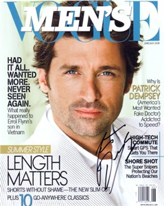 Patrick Dempsey autographed Men's Vogue magazine cover 8x10 photo