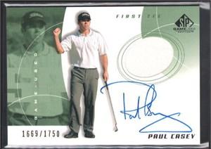 Paul Casey certified autograph worn shirt 2002 SP Golf card