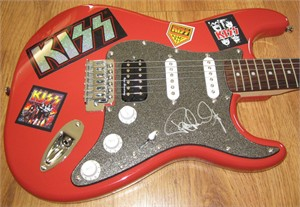Paul Stanley autographed KISS Fender Squier Bullet red electric guitar