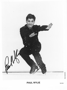 Paul Wylie autographed 8x10 black & white skating photo