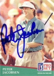 Peter Jacobsen autographed 1991 Pro Set golf card