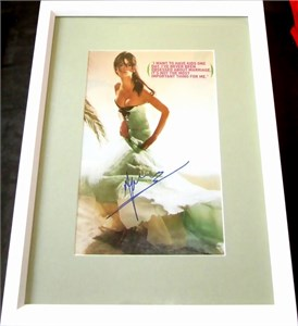 Penelope Cruz autographed full page magazine photo matted & framed