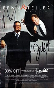 Penn & Teller autographed Accidents Will Happen mini magazine ad