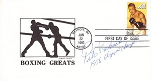 Pete Rademacher autographed 1993 boxing Joe Louis First Day Cover inscribed 1956 Olympic Champ