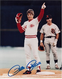 Pete Rose autographed Cincinnati Reds Hit 4192 8x10 celebration photo