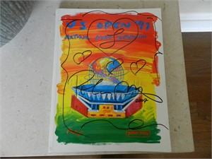 Peter Max autographed doodled & dated 1997 U.S. Open Tennis program