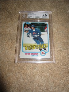 Peter Stastny 1981-82 Topps Rookie Card graded BGS 7.5 (NrMt+)