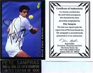 Pete Sampras certified autograph 1992 Classic tennis card in holder ltd edit 1000