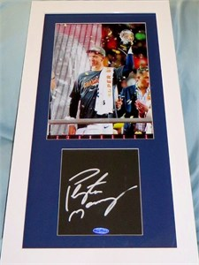 Peyton Manning autographed mat framed with Denver Broncos Super Bowl 50 8x10 photo UDA