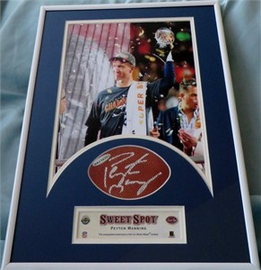 Peyton Manning autographed NFL football swatch matted & framed with Denver Broncos Super Bowl 50 8x10 photo UDA
