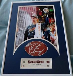Peyton Manning autographed NFL football swatch matted & framed with Denver Broncos Super Bowl 50 8x10 photo UDA