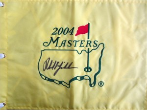 Phil Mickelson autographed 2004 Masters golf pin flag