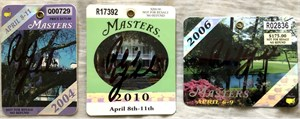 Phil Mickelson autographed 2004 2006 2010 Masters golf badge set