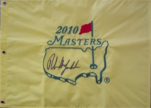 Phil Mickelson autographed 2010 Masters golf pin flag