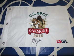 Phil Mickelson autographed 2016 U.S. Open embroidered golf pin flag