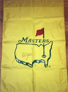 Phil Mickelson autographed Masters golf banner or house flag