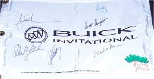 Buick Invitational Torrey Pines golf pin flag autographed by 6 winners (Tiger Woods John Daly Phil Mickelson Mark O'Meara)