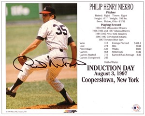 Phil Niekro autographed Atlanta Braves Hall of Fame 8x10 photo card