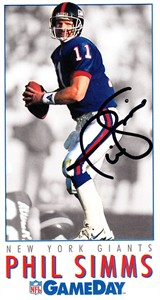 Phil Simms autographed New York Giants 1992 GameDay card