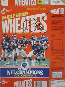 Phil Simms & Ottis (O.J.) Anderson autographed New York Giants Super Bowl 25 Champions Wheaties box