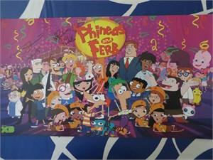 Phineas & Ferb cast autographed 2015 Comic-Con poster (Dee Bradley Baker Vincent Martella Alyson Stoner)