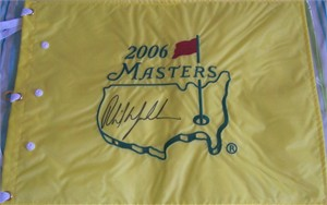 Phil Mickelson autographed 2006 Masters golf pin flag