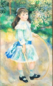 Pierre-Auguste Renoir Girl with a Hoop 7x12 inch print mounted on board