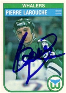 Pierre Larouche autographed Hartford Whalers 1982-83 OPC card