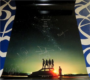 Power Rangers cast autographed full size 2016 teaser movie poster (Becky G Naomi Scott)