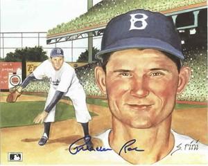 Preacher Roe autographed Brooklyn Dodgers 8x10 art print