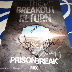 Prison Break cast autographed 2016 Comic-Con poster (Sarah Wayne Callies Robert Knepper Wentworth Miller)