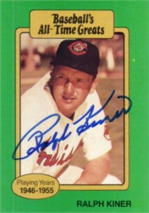 Ralph Kiner autographed Cleveland Indians Baseball's All-Time Greats card