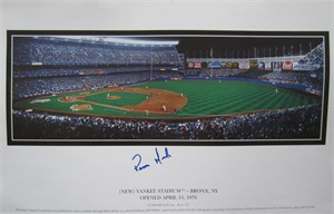 Ramiro Mendoza autographed Yankee Stadium oversized calendar page