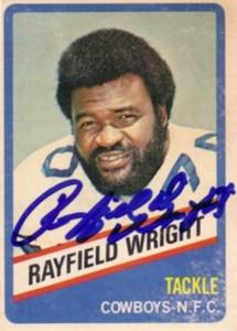 Rayfield Wright autographed Dallas Cowboys 1976 Wonder Bread card
